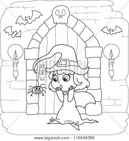 Coloring Halloween little witch