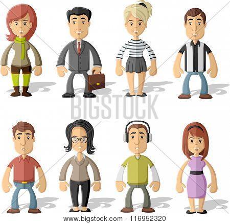 Group of cartoon happy people