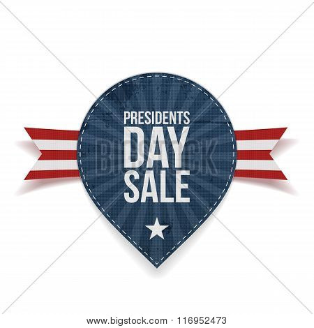 Blue striped Presidents Day Sale Label with Ribbon
