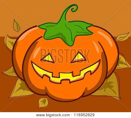 Jack o' Lantern and leaves