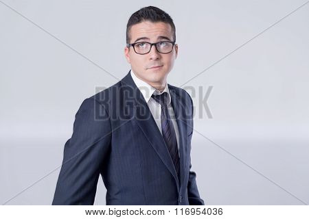 Suspicious businessman