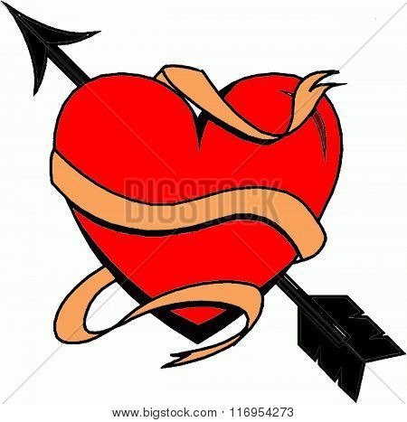 Red heart, valentine heart, heart with arrow, symbol heart, logo heart, sign heart, sketch heart, illustration heart, romantic heart, design heart, vector heart, graphic heart, image heart, beautiful heart, heart.
