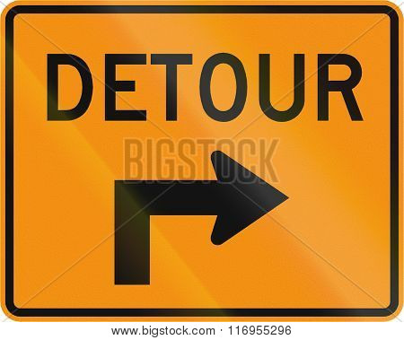 Road Sign Used In The Us State Of Virginia - Detour Direction