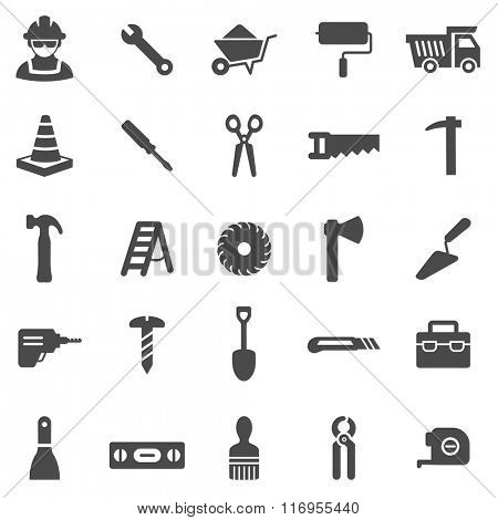 Worker tool black icons set.Vector