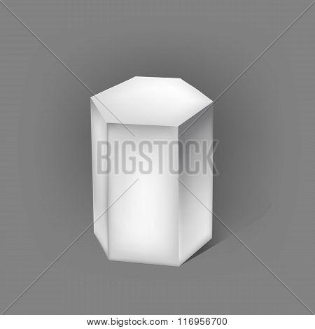 White Hexagonal Prism On Grey