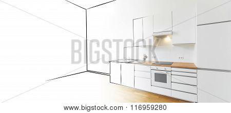 Modern Kitchen Sketch And Photo - Interior Design Concept