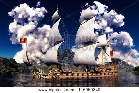 White smoke over ancient ship