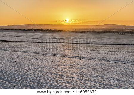 Scenic Winter Landscape In Bad Frankenhausen