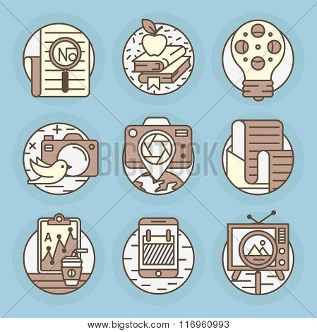 vector icons in modern linear style.