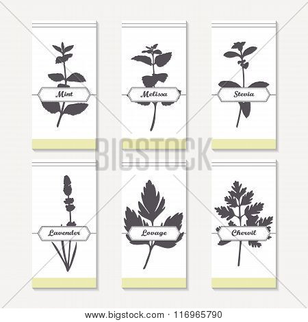 Spicy herbs silhouettes collection. Hand drawn mint, melissa, stevia, lavender, lovage, chervil