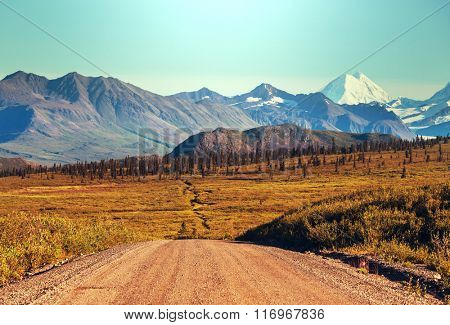 Landscapes on Denali highway, Alaska. Instagram filter.