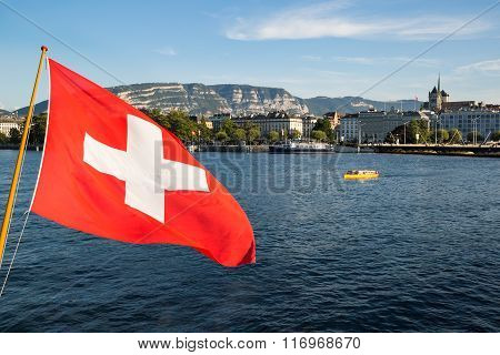 Geneva Lake And Swiss Flag
