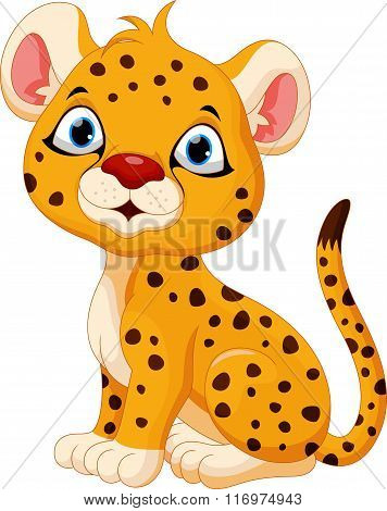 Cute baby cheetah cartoon sitting