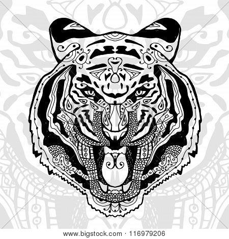The black and white tiger print with ethnic zentangle patterns.