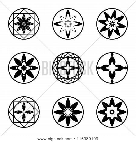 Mandala elements, tattoo icon set. Star, floral stylized ornament. Black round signs. Harmony, luck,