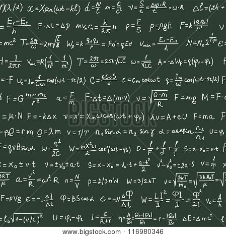 Seamless pattern on the green blackboard with handwriting text and physics formulas, vector
