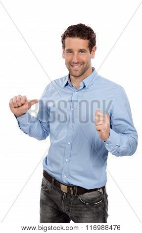 Confident businessman points to himself with both thumbs