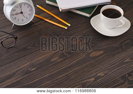 Business Accessories On A Office A Dark Wooden Table