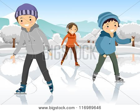 Illustration of Teenagers Playing on a Frozen Lake