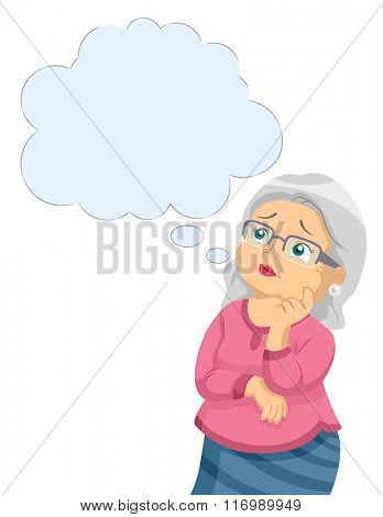 Illustration of a Female Senior Citizen Worried About Alzheimers Disease