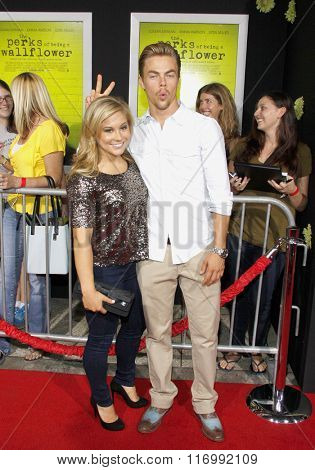 Shawn Johnson and Derek Hough at the Los Angeles premiere of 'The Perks Of Being A Wallflower' held at the ArcLight Cinemas in Hollywood, USA on September 10, 2012.