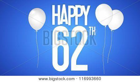 Happy Birthday Card - Boy With White Balloons - 62 Years Greeting Postcard - Illustration Anniversar