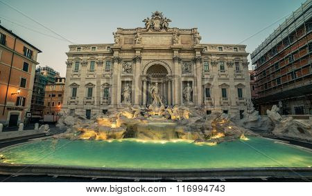 Rome, Italy: The Trevi Fountain in the sunrise
