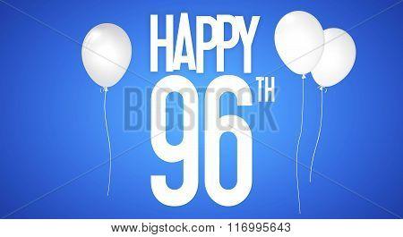 Happy Birthday Card - Boy With White Balloons - 96 Years Greeting Postcard - Illustration Anniversar