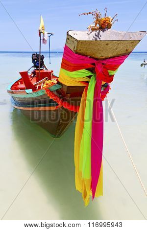 Prow Thailand  In  Kho Tao Bay Asia Isle Blue Clean Water    Pirogue