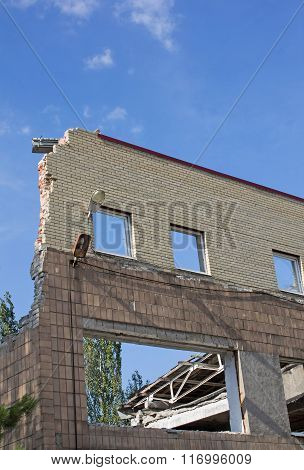 Remains Broken Shell Of The Building In Donetsk