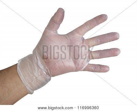 Mans Hand Into Plastic Glove