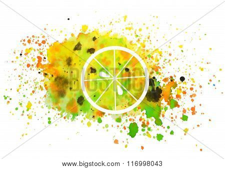 Abstract slice of orange and splashes of watercolor on white background, vector  illustration