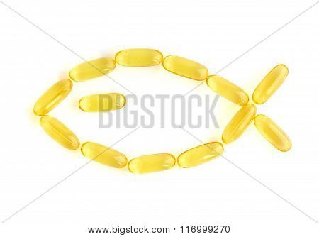 Omega-3 Capsules On White Background, Fish Shape