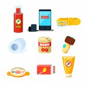 Survival emergency kit for evacuation, Items for Active Rest. Vector Illustration Collection poster