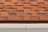 Bitumen asphalt shingles with plastic drainage on house roof. poster