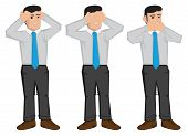Vector illustration of businessman using hands to cover ears eyes and mouth isolated on white background. Cartoon vector illustration for proverb see no evil hear no evil and speak no evil. poster
