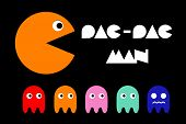 Pac man icon and ghosts. Retro computer arcade game vector flat characters set. Play videogame with fun monster illustration poster