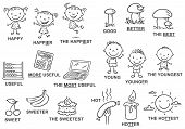Degrees of comparison of adjectives in pictures black and white poster