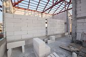 white Lightweight Concrete block Foamed concrete block raw material for industrial wall or house wall poster