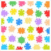 Hexagonal jigsaw puzzle pieces of various shapes and colors fitting each other poster