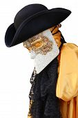 Venice Italy yellow carnival costume of a noble Venetian with black hat poster
