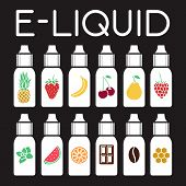 Vector E-Liquid illustration of different flavor. Liquid to vape. Taste of electronic cigarette poster