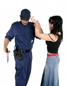 officer apprehends and disarms a knife from a rough female criminal poster