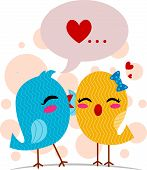 Illustration of a Lovebird Whispering Sweet Nothings poster