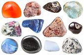 macro shooting of collection natural stones - various tumbled ornamental gem stones isolated on white background poster