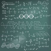 Wave physics science theory law and mathematical formula equation chalk doodle handwriting and frequencies model icon in blackboard background used for school education and document decoration create by vector poster