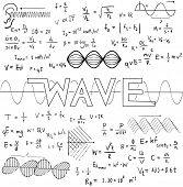 Wave physics science theory law and mathematical formula equation doodle handwriting and frequencies model icon in white isolated background paper used for school education and document decoration create by vector poster