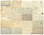 Antique handwritten undefined texts from ca. 1900. Grunge vintage toned paper background poster