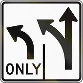 United States MUTCD road sign - Allowed turns on lanes. poster