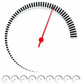 Circular dial gauge template with increments and red needle poster